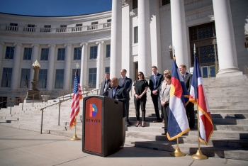 Mayor Michael Hancock announces Denver as the host city for the next U.S. Department of Energy Solar Decathlon competition in the fall of 2017. The announcement took place at  Denver City and County building.   Photo courtesy of Ellen Jaskol.