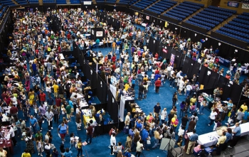 This photo shows the annual Central Savannah River Area College Night event, which was attended by more than 7,000 area high school students. The event is managed by SRNS employees.