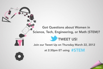 Join us for a conversation about women in science, technology, engineering, and Math (STEM) on Twitter on Thursday, March 22 at 2:30pm EDT by following the hashtag #STEM.