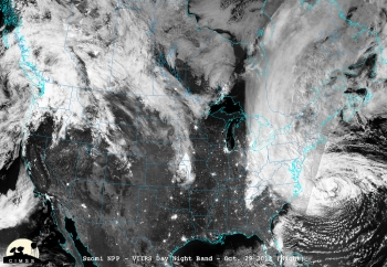 Hurricane Sandy -- shown here via satellite on the night of November 2, 2012 -- was the first real test of EAGLE-I's capabilities   Photo courtesy of CIMSS/University Wisconsin-Madison/NASA/NOAA.