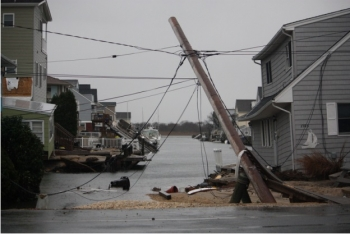 Damaged power lines in New Jersey after Hurricane Sandy