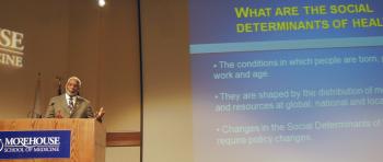 Dr. David Satcher speaks at the Community Leaders' Institute at Morehouse School of Medicine in Atlanta, Georgia.