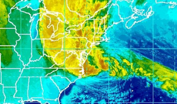 Sandy made landfall as a post-tropical cyclone on the southern coast of New Jersey near Atlantic City at 8 p.m. with top sustained winds of 80 mph. | Photo courtesy of NOAA