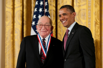 Sidney Drell, emeritus deputy director of SLAC, with President Obama on Feb. 1, 2013, wearing the National Medal of Science.   Photo credit: Ryan K. Morris/National Science & Technology Medals Foundation