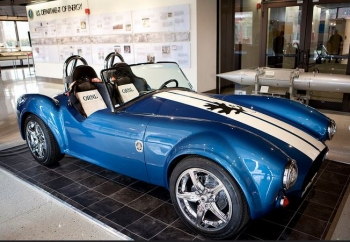 """This Shelby was printed at the Department of Energy's Manufacturing Demonstration Facility at Oak Ridge National Laboratory (ORNL) using the BAAM (Big Area Additive Manufacturing) machine and is intended as a """"plug-n-play"""" laboratory on wheels where sustainable components can be tested and enhanced in real time."""