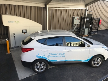 SimpleFuel's home-scale refueling appliance can provide a 1-kilogram fill—enough fuel to travel approximately 60-70 miles—to vehicles in 15 minutes or less at the required pressure to fully fill hydrogen storage tanks onboard the FCEV (700 bar) using hydrogen produced via electrolysis, a method of producing hydrogen from electricity. Photo Courtesy | SimpleFuel