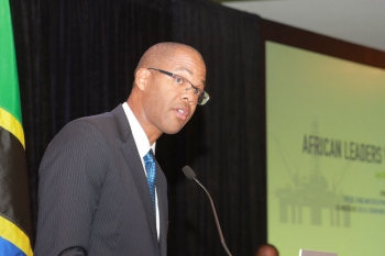 FE's Christopher Smith spoke recently during the Africa Leaders' Visit: Energy event in Houston.  During the three-day event organized by the U.S. Trade Development Agency, Smith met with African energy leaders to discuss U.S.-African collaboration on energy development and utilization in African countries.  <i>Photo courtesy of the U. S. Trade Development Agency.</i>