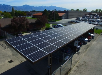 This solar energy system was installed at Hunt Electric, the first company in Utah to take advantage of C-PACE financing.