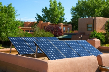 This solar system, installed at a home in Santa Fe, benefitted from the New Mexico Solar Market Development Tax Credit.