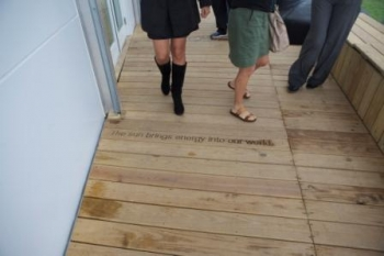 Each house has personalized details--like Florida International's etchings inscribed on the deck floor.