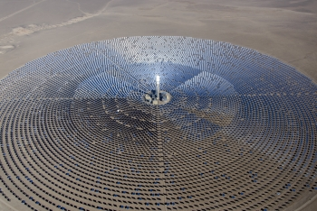 By using molten salt as both the heat transfer fluid and the thermal energy storage medium, CSP plants utilizing this technology provide efficient and cost effective solar storage. Photo courtesy | SolarReserve.