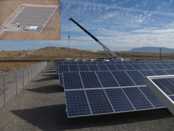 The PNM Prosperity Energy Storage Project is the nation's first combined solar generation and storage facility to be fully integrated into a utility's power grid.  Pictured above are the facility's solar panels, including an aerial view in the upper left. | Image courtesy of PNM
