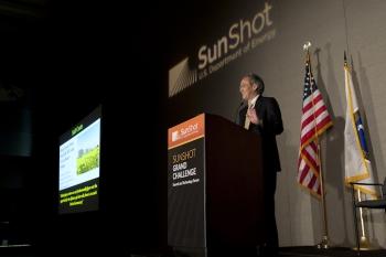 Energy Secretary Steven Chu gives the keynote address at the SunShot Grand Challenge Summit in Denver, Colorado. | Photo by Dennis Schroeder/NREL.
