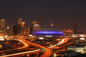 New Orleans' Mercedes-Benz Superdome features more than 26,000 LED lights on the building's exterior. The system uses only 10 kilowatts of electricity, equivalent to powering a small home. | Photo courtesy of SMG.