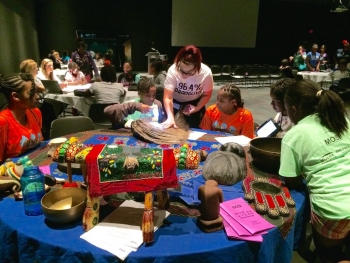 Girls from the Tampa Public Housing Authority participated in a hands-on activity at the Museum of Science and Industry. | Energy Department photo.