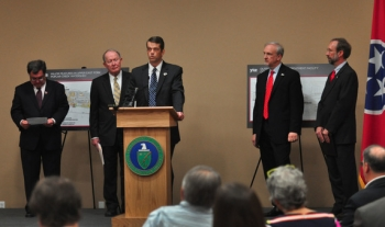 Tennessee Department of Environment and Conservation Commissioner Robert Martineau, left to right, U.S. Sen. Lamar Alexander (R-Tenn.), Oak Ridge EM Manager Mark Whitney, EM Senior Advisor Dave Huizenga and EPA Deputy Regional Administrator for Region 4 Stan Meiburg gathered for the announcement on mercury cleanup.