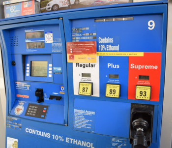 "The ""Contains 10% ethanol"" label means that ethanol has been blended into the petroleum gasoline—10% ethanol and 90% petroleum gasoline."