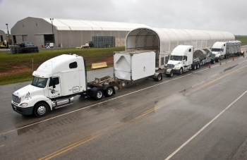 Three trucks transport nuclear waste from the Savannah River Site in South Carolina.   Energy Department photo.