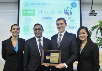 The student startup, REEcycle, from the University of Houston swept this year's National Clean Energy Business Plan Competition, taking home all three awards for its innovative method of reclaiming rare earth elements from magnets in electronics. | Photo courtesy of Ken Shipp, Energy Department.