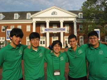 Winners of the 2011 Regional Science Bowl competition (hosted in partnership with the University of Texas - Pan American) pose at the national competition in Washington, DC.   Courtesy of the University of Texas - Pan American HESTEC Program.