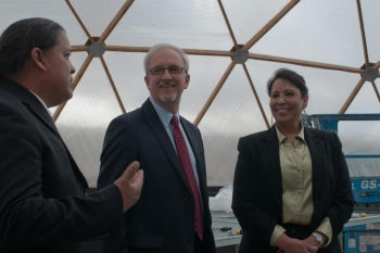 (From Left) Stuart Harris, Confederated Tribes of the Umatilla Indian Reservation, Director of the Department of Science and Engineering, Dave Huizenga, Senior Advisor for the Office of Environmental Management, and Tracey LeBeau, Director of the Office of Indian Energy Policy and Programs at the groundbreaking of a field station in Oregon.