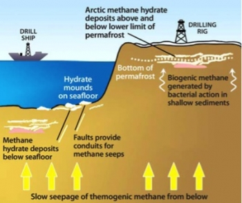 Image of how methane hydrates can form in arctic and marine environments.   Illustration by the Energy Department.