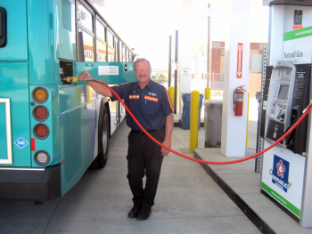 Working with Republic Services, the city of Boise and Valley Regional Transit, Treasure Valley Clean Cities built four compressed natural gas (CNG) fueling stations that allowed all three organizations to transition to CNG vehicles. | Photo courtesy of Valley Regional Transit.