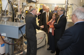 Secretary of Energy Steven Chu participates in a tour of Catholic University's Vitreous State Laboratory.   Photo courtesy of the Office of Environmental Management.