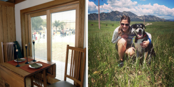 This Valentine's Day, I plan to cuddle with my dog (right) and add drapes to make my windows more energy efficient.   Left photo courtesy of Chris Gunn, National Renewable Energy Laboratory. Right photo courtesy of Paige and Rory Terlip.