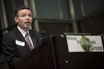 Victor Nazario speaks at the 1,000 Green Supers graduation ceremony in New York City. | Courtesy of SEIU32BJ