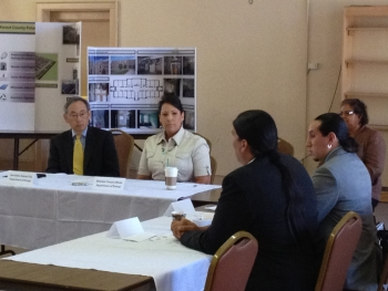 Secretary Chu and Office of Indian Energy Director Tracey LeBeau meet with Wisconsin tribal leaders in Milwaukee, WI.   Photo courtesy of Mark Appleton.