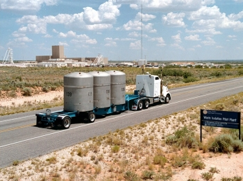 A Waste Isolation Pilot Plant (WIPP) truck approaches the WIPP facility near Carlsbad, N.M. Since opening in 1999, WIPP has established an impressive record. In addition to transporting more than 10,500 shipments safely, WIPP drivers have logged more than 12.6 million safe loaded miles — equivalent to 26 roundtrips to the moon — without a serious accident or injury. Their work has helped DOE clean up 22 transuranic waste sites around the nation.