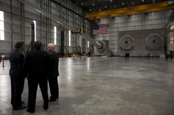 Inside the world's  largest wind turbine blade testing facility.   Photo Courtesy of Kate Samp (MassCEC)