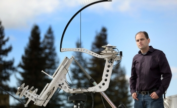 Sandia National Laboratories researcher Matt Lave uses pyranometers like these to measure the amount of irradiance, or available sunlight. | Photo by Dino Vournas.