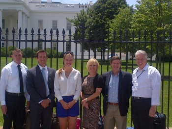 Six of the eight FEMP veteran internship program participants stand outside of the White House in Washington, D.C. | Energy Department photo