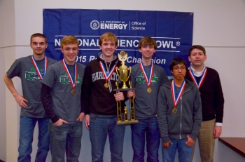 First place Gatton Academy of Mathematics and Science in Kentucky, from left, Bryan Carlson, Paul Hudson, Ben Riley, Ben Guthrie, Rohan Deshpande, Derick Strode (coach).