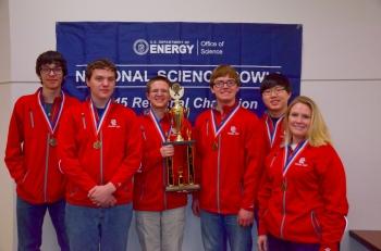 Second place Calloway County High School, from left, Rodrigo Deloin, Martin Mikulcik, Sam Morehead, Eric Mikulcik, Jaewon Kang, Erica Gray (coach).
