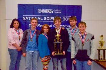 Third place Marshall County High School, from left, Tina Marshall (coach) Adam Packett, Cassidy Adair, Justin Smith, Austin Semm, Jeremiah Halter.
