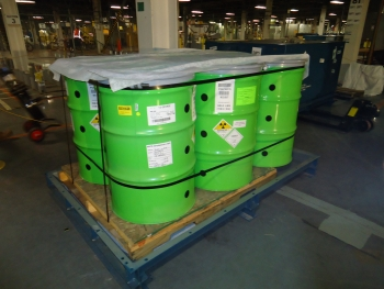 These certified waste packages were ready for Department-of-Transportation-compliant shipping.