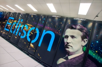 Named in honor of American inventor Thomas Alva Edison, Berkeley Lab's newest supercomputer can execute nearly 2.4 quadrillion calculations per second at peak theoretical speeds. | Photo by Roy Kaltschmidt, Berkeley Lab.