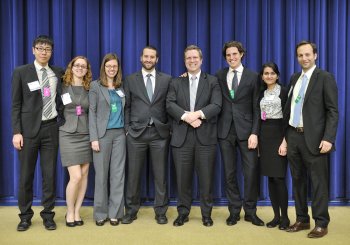 The Better Buildings Case Competition challenges the next generation of engineers, entrepreneurs and policymakers to devise actionable ways to cut energy waste and improve commercial building efficiency. Last year, Yale's team (pictured here) won best proposal for their solution on how the federal government could meet energy-savings goals in government buildings across the United States. | Photo courtesy of the Energy Department.