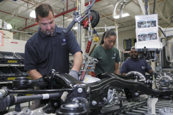 ZF North America used Alabama E3 funding to create a recycling program that saves more than $100,000 a year in trash pickup and landfill fees. Pictured here are workers in the Tuscaloosa location, which provides Mercedes with complete axle systems.   Photo courtesy of ZF North America, Inc.