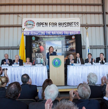 N.M. Gov. Susana Martinez leads a round of applause for the resumption of waste emplacement at WIPP during the reopening ceremony Jan. 9. Energy Secretary Ernest Moniz, Sen. Martin Heinrich, Reps. Steve Pearce and Michelle Lujan Grisham, and Carlsbad Mayor Dale Janway also spoke at the event.