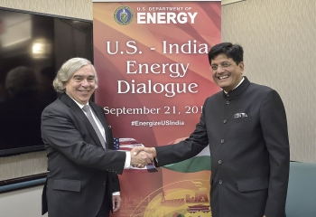 Yesterday, Energy Secretary Ernest Moniz (left) and Indian Minister of State with Independent Charge for Power, Coal, and New and Renewable Energy Piyush Goyal (right) co-chaired the U.S.-India Energy Dialogue here in Washington, DC. (Photo credit Charles Watkins/DOE.)