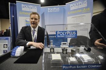 William Mouat explains the PolyPlus battery technology.   Energy Department photo, credit Ken Shipp.
