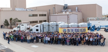 EM Waste Isolation Pilot Plant federal and contractor employees gather to celebrate receipt of the first shipment of transuranic waste since the facility reopened earlier this year.