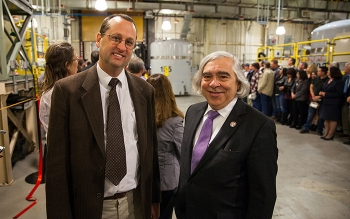 EM's Carlsbad Field Office Manager Todd Shrader, left, and Energy Secretary Ernest Moniz, following the ribbon-cutting ceremony for the Waste Isolation Pilot Plant reopening.