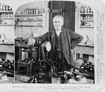 """Thomas A. Edison in his """"Invention Factory,"""" 1901.   Photo courtesy of the Prints and Photographs Division, Library of Congress."""