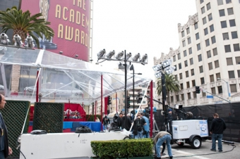 This prototype mobile lighting unit, which uses energy-efficient lighting and hydrogen fuel cell power, was used during the Academy Awards. Its backers hope similar technologies can replace noisy, polluting diesel-based mobile lighting. | Photos courtesy of the Academy of Motion Picture Arts and Sciences®