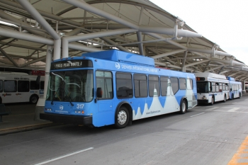 Denver International Airport is one of many airports across the U.S. that is turning to alternative fuel vehicles. The airport maintains 324 alternative fuel vehicles, including 210 buses, sweepers, and other vehicles that use compressed natural gas, and 114 electric and hybrid-electric vehicles. As of 2010, alternative vehicles made up 32 percent of the airport's fleet. | Photo courtesy of Dean Armstrong, NREL.